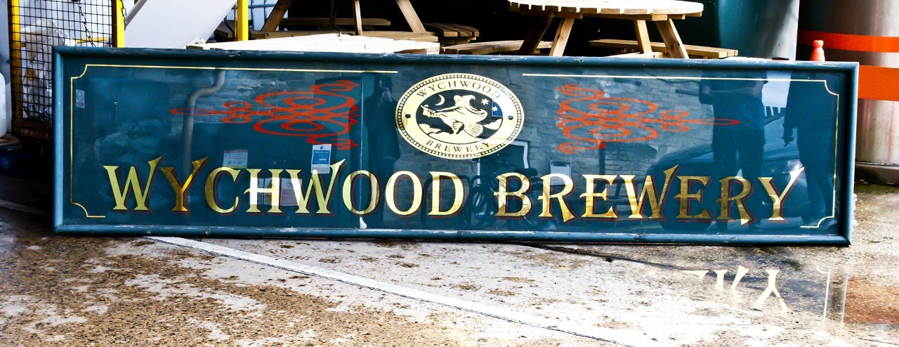 The original Wychwood Brewery sign has been sold to raise money for charity