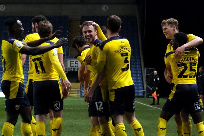 Oxford United celebrate after Sam Long scores their fourth goal against Shrewsbury Town Picture: Ric Mellis