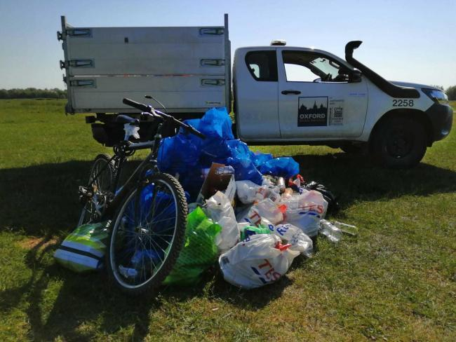 Rubbish and litter left on Port Meadow in June 2020 and cleared up by Oxford Direct Services. Picture: Oxford City Council