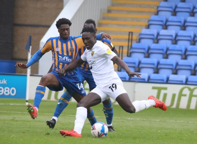Dan Agyei scores Oxford United's winning goal at Shrewsbury Town Picture: Darrell Fisher