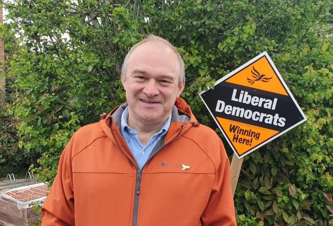 Liberal Democrat leader Ed Davey visiting Didcot on the local elections 2021 campaign trail.