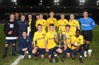 Oxford United celebrate with the Oxfordshire Senior Cup after their win over Banbury United