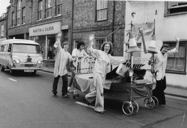 The Sinodun Players' bed push to raise funds for the Corn Exchange
