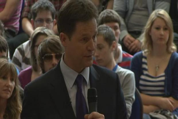 Press conference with Liberal Democrat leader Nick Clegg speaking at Oxford Brookes University + GVs