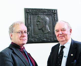 Prof Robert Gildea, left, and Mike Chew of the City of Oxford School Association with the plaque