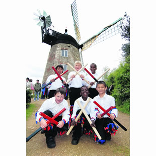 The Wheatley Boys' Morris side who performed the windmill dance at the grand opening
