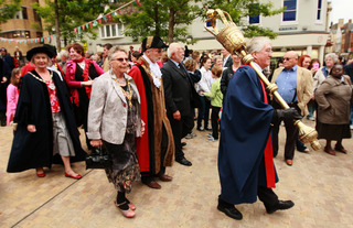 Mace bearer Timothy Cox at the head of the procession to Oxford Castle, with Lord Mayor John Goddard in the centre of the front rank and new Deputy Lord Mayor Dee Sinclair on the left in the second rank