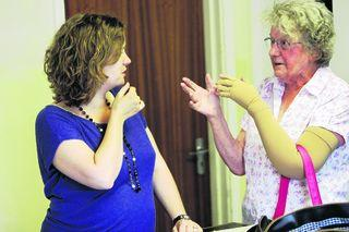June Westbury, right, talks to principal planner Rachel Williams at Tuesday's consultation