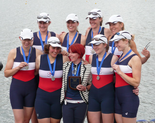City of Oxford's women's eight celebrate their success in the National Championships. Back row (from left): Keren Ward, Sian Findlay, Jane Loveday, Anna Reid. Front: Nicola Smith, Katharina Uhl, Suzy Drohan, Melanie Ward, Isabel Unwin