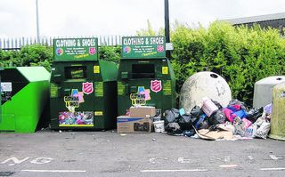 Rubbish dumped at the entrance to the Oxford Business Park