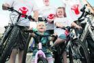Ryan Scott, left, and Becky Leach will do the London Sky Ride for Save The Children with children, Faye, two and Owen, five and nephew Ryan Lawrence