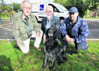 Councillor John Tanner, centre, with dog warden Ken Williams, right, and responsible dog owner Richard Burley with his pet Sasha