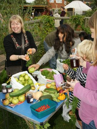 Julieanne Porter, left, organises the food swap at Barracks Lane Community Garden, off Cowley Road, Oxford