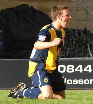 Tom Craddock celebrates his first goal against Port Vale