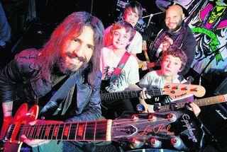 "Guitarist Ron ""Bumblefoot"" Thal, front, and  drummer Frank Ferrer, back, with Witney group Elm, from left, Eddie Finch, Harry Nolan and Oscar Finch"