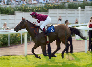 Heather Main (right) partners Cool Temper to victory as an amateur rider in a ladies' race at Chepstow in 2005