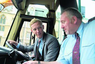 Oxford Mail: Lewis star Laurence Fox with Oxford Bus Company driver