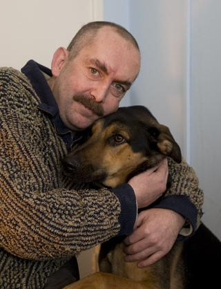 Anthony Cotter with his dog Charlie