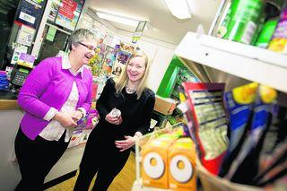 Shop manager Claire Salmon and Oxford West & Abingdon MP Nicola Blackwood