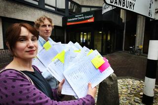 Sarah Eddie, left, and Priscilla Goldby handing in petition against the closure of the Headington library at County Hall