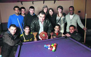 Friends and family of murdered Arash Ghorbani-Zarin, including his father Raheem, centre, play a pool tournament in his honour