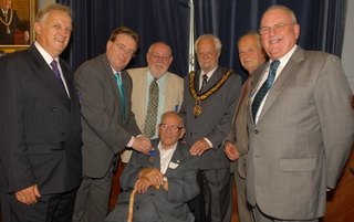 Len Webb, centre, with fellow past mayors of Thame and John Howell MP at a civic reception in July 2008