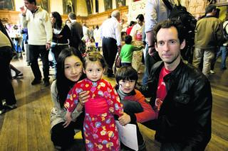 Dominic and Eri Jones at the Town Hall event with their children Lawrence and Michelle