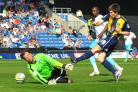 Ryan Burge goes close for Oxford United against Wycombe Wanderers