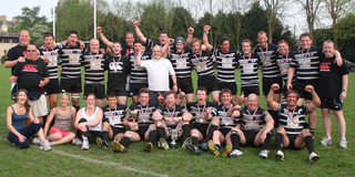 Chinnor celebrate with the trophy after their 19-9 victory over Oxford Harlequins