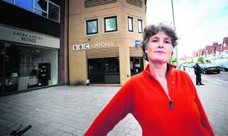 Oxford and District NUJ branch secretary Anna Wagstaff outside the BBC Oxford offices in Banbury Road