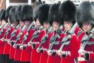 The Scots Guards line up in Market Square