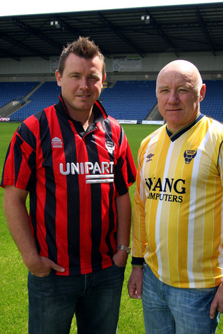Joey Beauchamp and Dave Langan at the Kassam Stadium yesterday as the first batch of names for their testimonial match next month were announced