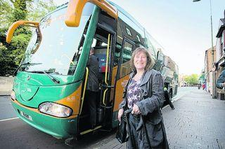 Oxford Lord Mayor Elise Benjamin begins her overland trip to Bonn as she boards x90 bus to London