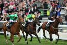 Sagramor (left) swoops to land the Britannia Stakes under Nicky Mackay