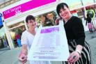 Margery Kerry and Sharon Walton, of Clic Sargent's shop in Headington, with one of the bags it relies on for donations