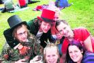 Patrick Chilver, Sean Crollman, Bella Fortune, Becky Giles Dan Ludlow and Sara Boote enjoying the festival