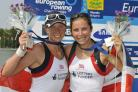 Andrea Dennis and Kathryn Twyman on the podium in Bulgaria