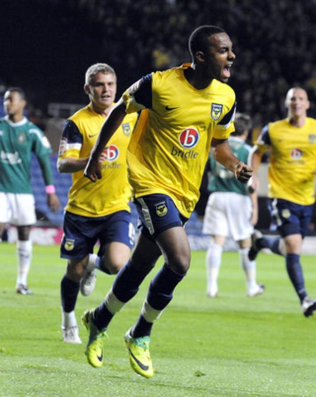 Oxford Mail: Oxford United teenager Rob Hall celebrates the first of his double against Plymouth on Tuesday night