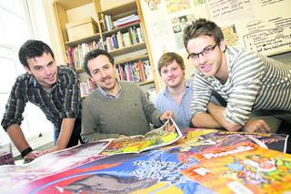 Editor of The Phoenix Ben Sharpe, second left, with marketing manager Ross Fraser, assitant editor Will Fickling and designer Laurence Beck