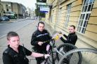 From left to right: PCs Chris Proto, Matthew Goodchild and Stuart Carey with three bicycles they suspect to be stolen and whose owners they are looking for