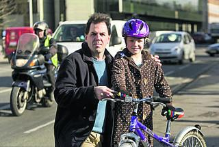 Richard Mann, of Cyclox, with daughter Rosamund in Frideswide Square