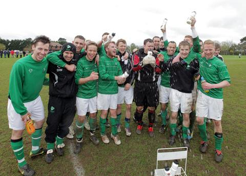 Slade Farm United celebrate their Ben Turner Cup win