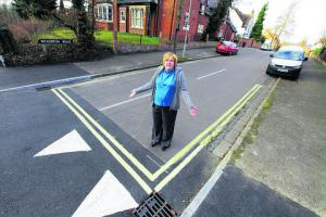 Headington councillor Ruth Wilkinson with the lines in Bickerton Road