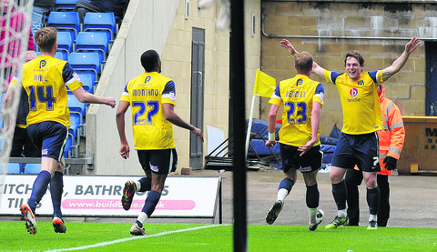 Adam Chapman celebrates his goal f