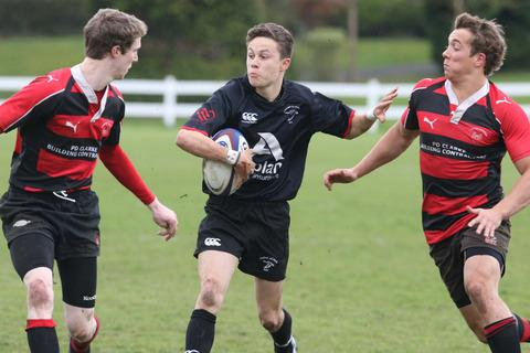 Gosford centre Will Watts, son of coach Matt, attacks during the Oxon Shield final against Chipping Norton at Iffley Road on Saturday