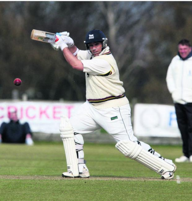 Oxford Mail: Craig Haupt places one through the covers during his fine 100 for Oxfordshire in their warm-up victory over Buckinghamshire at Aston Rowant yesterday
