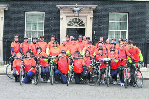 The riders at Downing Street