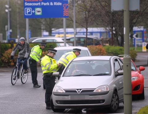 Officers at Seacourt park and ride today