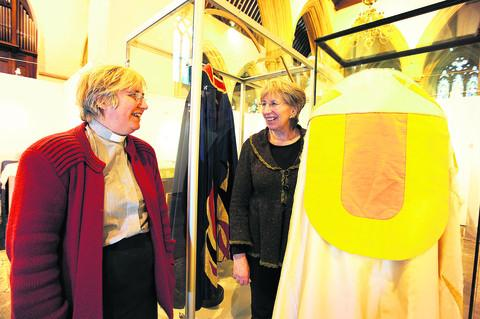 Dorchester Abbey's rector, Canon Sue Booys, left, with curator and sponsor Patricia Jordan Evans