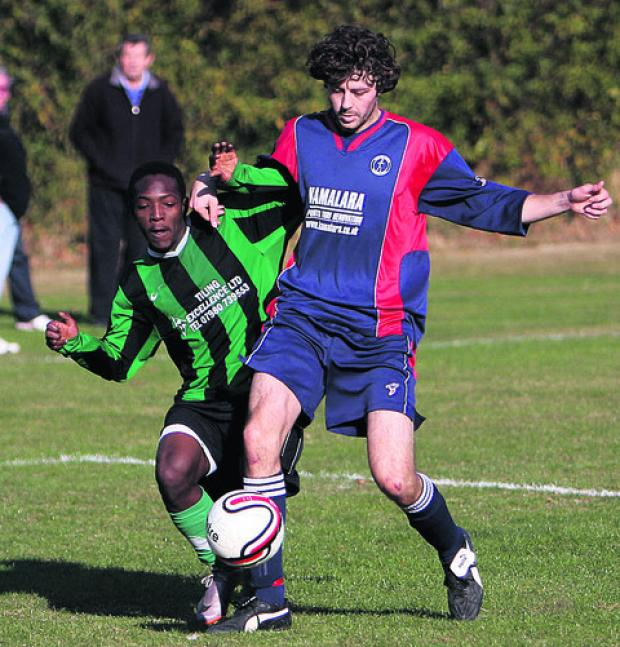 Tom Payne (right) scored both Marston Saints' goals in a 2-1 Premier Division win against Launton Sports